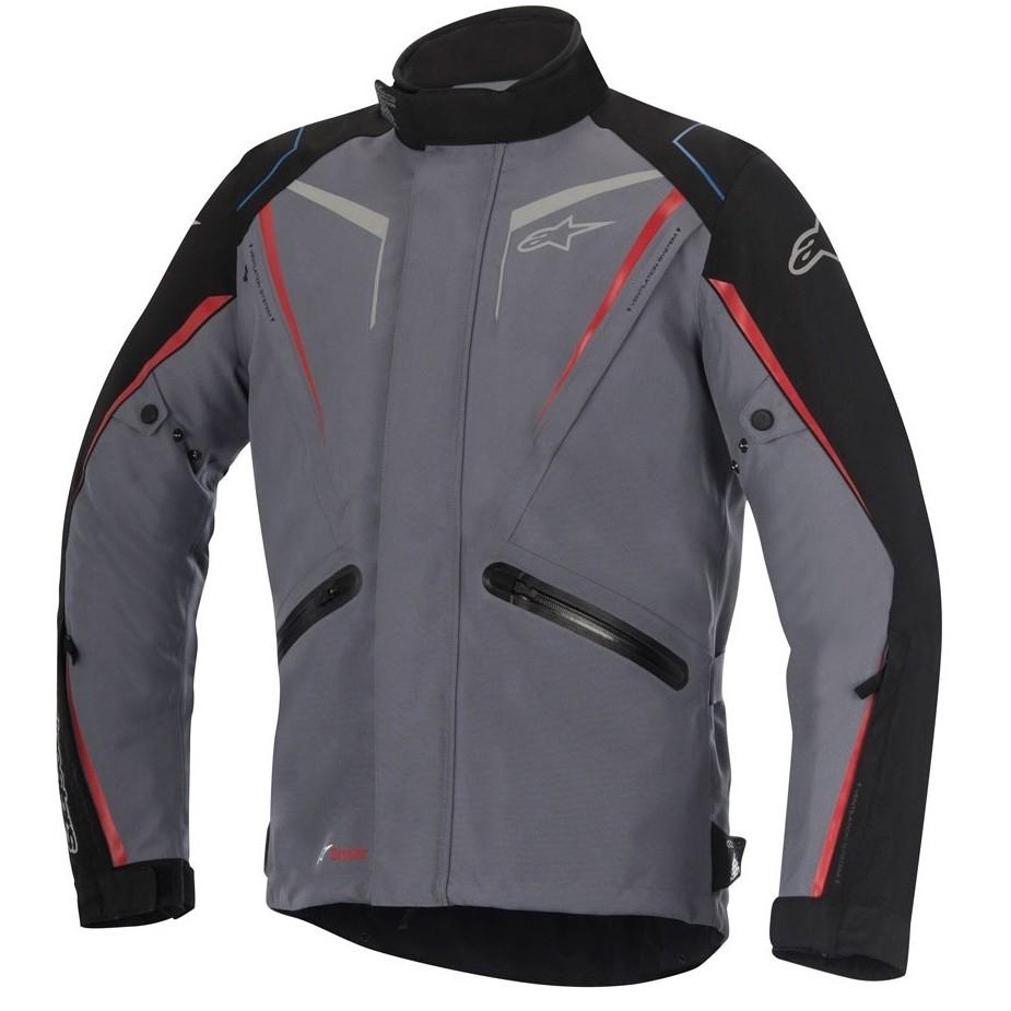 Jaqueta Alpinestars Yokohama Drystar Cinza/Vermelho - 100% Impermeável  - Planet Bike Shop Moto Acessórios