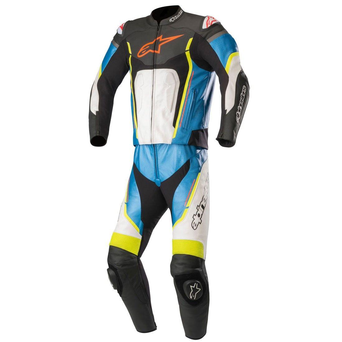 Macacão Alpinestars Motegi V2 Preto/Branco/Azul/Amarelo 2 PEÇAS  - Planet Bike Shop Moto Acessórios