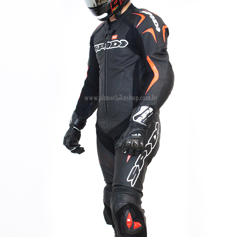 Macacão Spidi Super Sport Touring Preto c/ Vermelho 1pç  - Planet Bike Shop Moto Acessórios