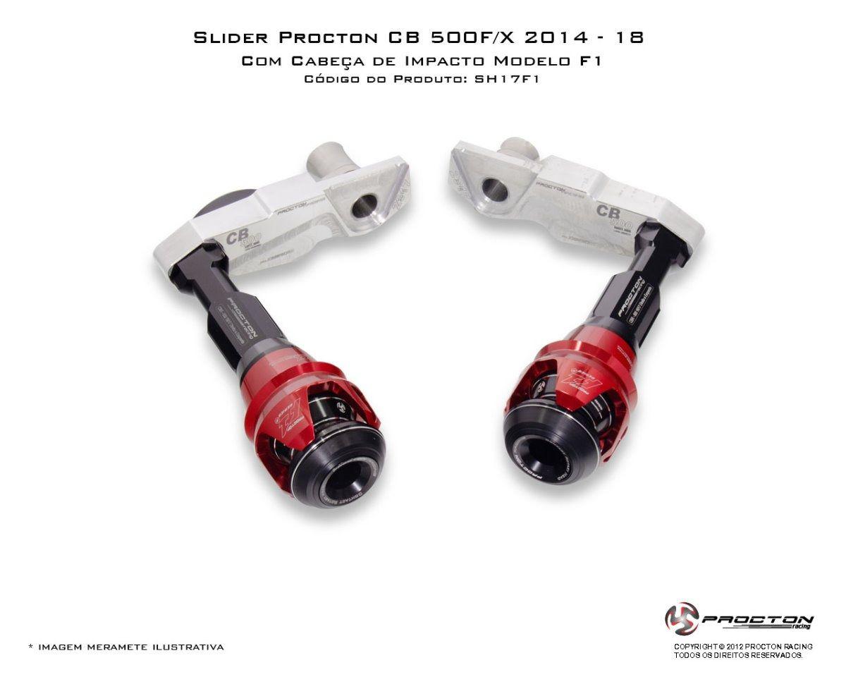 Slider Procton com Amortecimento Honda CBR500R - 14/15 | CB500F/CB500X- 14/18 F1  - Planet Bike Shop Moto Acessórios