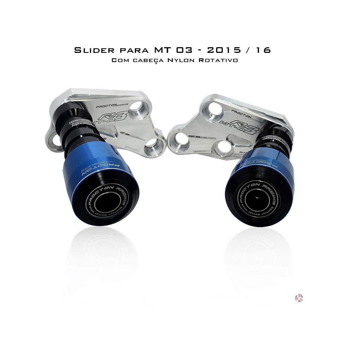 Slider Procton com Amortecimento Yamaha MT03 - 16 (NYLON ROTATIVO)  - Planet Bike Shop Moto Acessórios