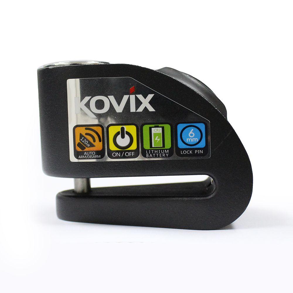 Trava de Disco com Alarme Kovix Aço Preto (KD6-BM)  - Planet Bike Shop Moto Acessórios