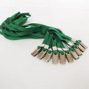 Cordão para Crachá com Presilha Clips Jacaré Verde - Pacote com 25 unidades