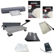 Kit Encadernadora e Guilhotina A4 + Plastificadora A3 Aurora 110v