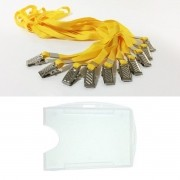 Kit Porta Crachá Rígido Conjugado Cristal + Cordão Amarelo - 100 unidades