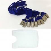 Kit Porta Crachá Rígido Conjugado Cristal + Cordão Azul Royal - 100 unidades