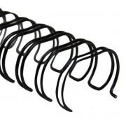"""Wire-o Para Encadernação A4 Preto 5/8"""" Até 120 Folhas (Passo 2x1) - Caixa com 50 unidades"""