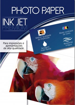Papel Fotográfico Brilhante Jato de Tinta 180g/m² A3 297x420mm - Caixa com 50 unidades  - Click Suprimentos