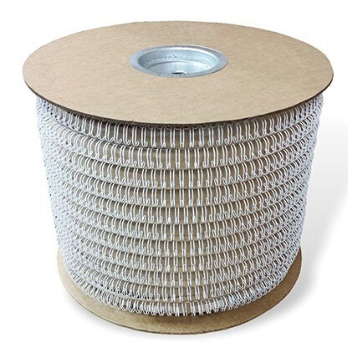 """Bobina Wire-o para Encadernação Branco 1 1/8"""" até 250 Folhas (Passo 2x1) - 3.100 anéis  - Click Suprimentos"""