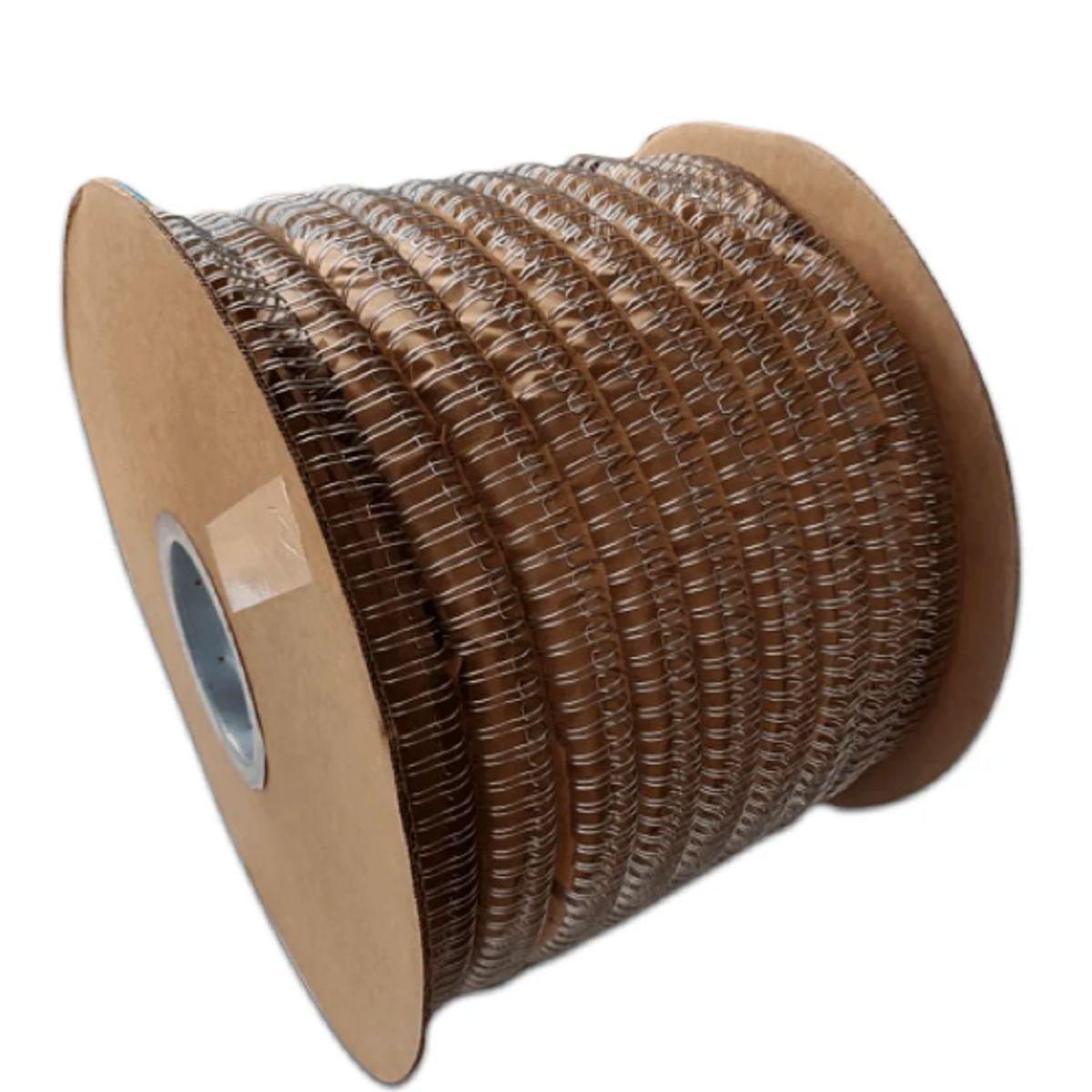 """Bobina Wire-o para Encadernação Prata 3/8"""" até 60 Folhas (Passo 3x1) - 45.000 Anéis  - Click Suprimentos"""