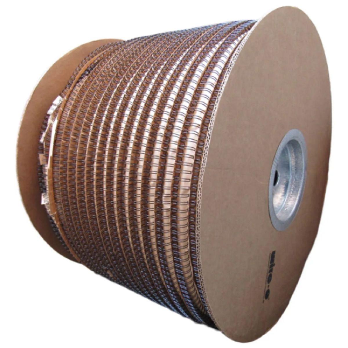 """Bobina Wire-o para Encadernação Preto 7/8"""" até 180 Folhas (Passo 2x1) - 6.000 Anéis  - Click Suprimentos"""