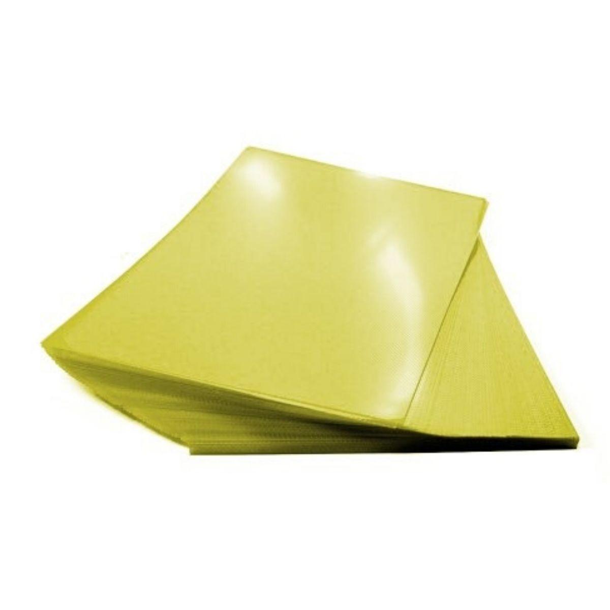 Capa para Encadernação PP 0,30mm A4 Amarela Couro (Fundo) - Pacote com 100 unidades  - Click Suprimentos