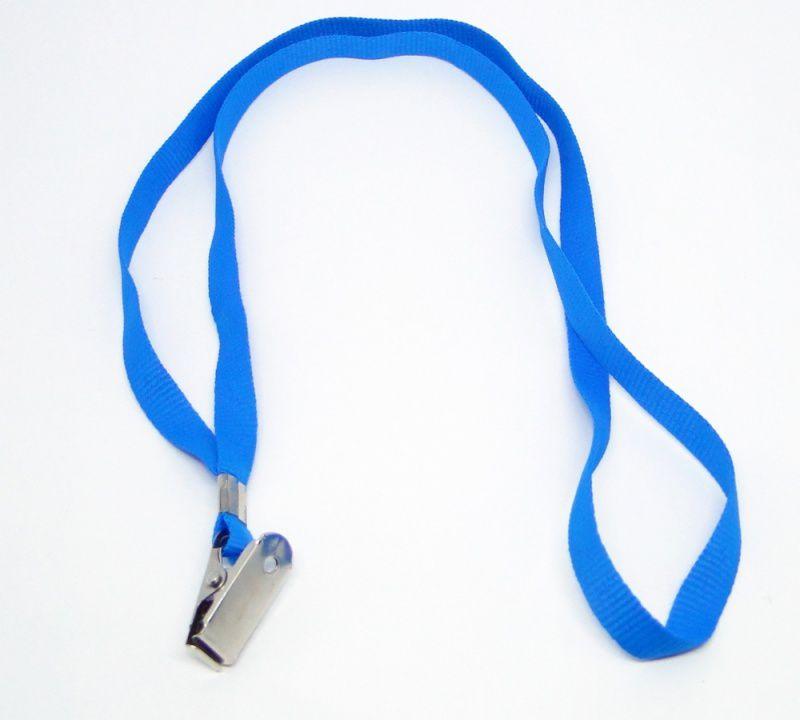 Cordão para Crachá com Presilha Clips Jacaré Azul Claro - Pacote com 100 unidades  - Click Suprimentos