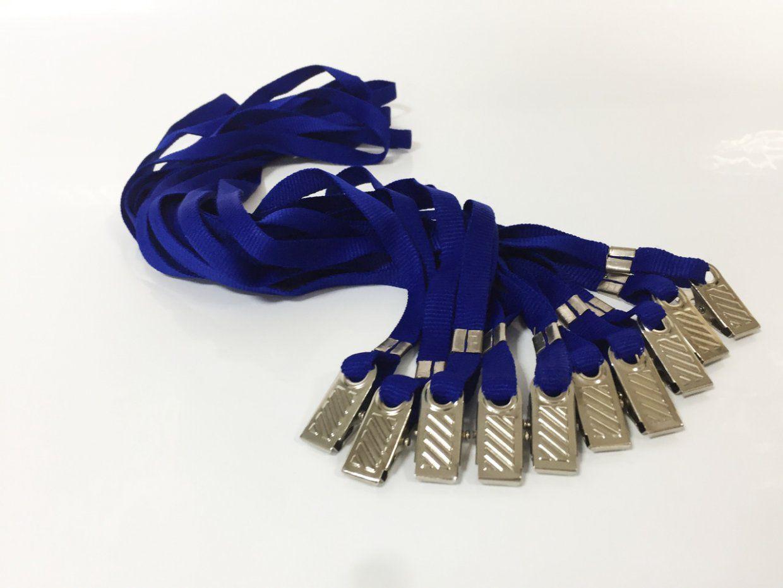 Cordão para Crachá com Presilha Clips Jacaré Azul Royal - Pacote com 100 unidades  - Click Suprimentos