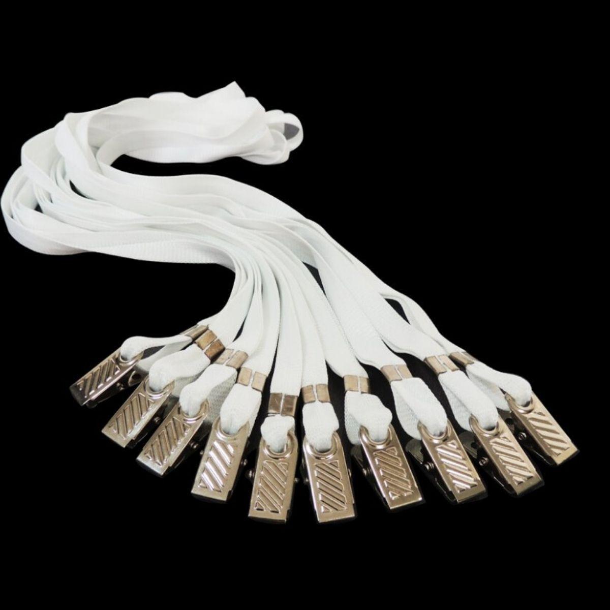 Cordão para Crachá com Presilha Clips Jacaré Branco - Pacote com 25 unidades  - Click Suprimentos