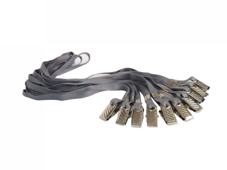 Cordão para Crachá com Presilha Clips Jacaré Cinza Escuro - Pacote com 100 unidades  - Click Suprimentos