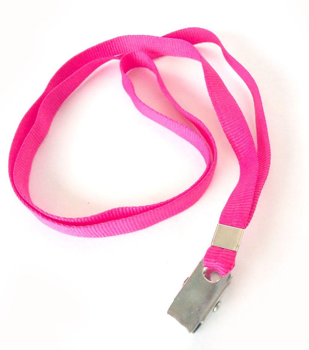 Cordão para Crachá com Presilha Clips Jacaré Rosa Pink - Pacote com 25 unidades  - Click Suprimentos