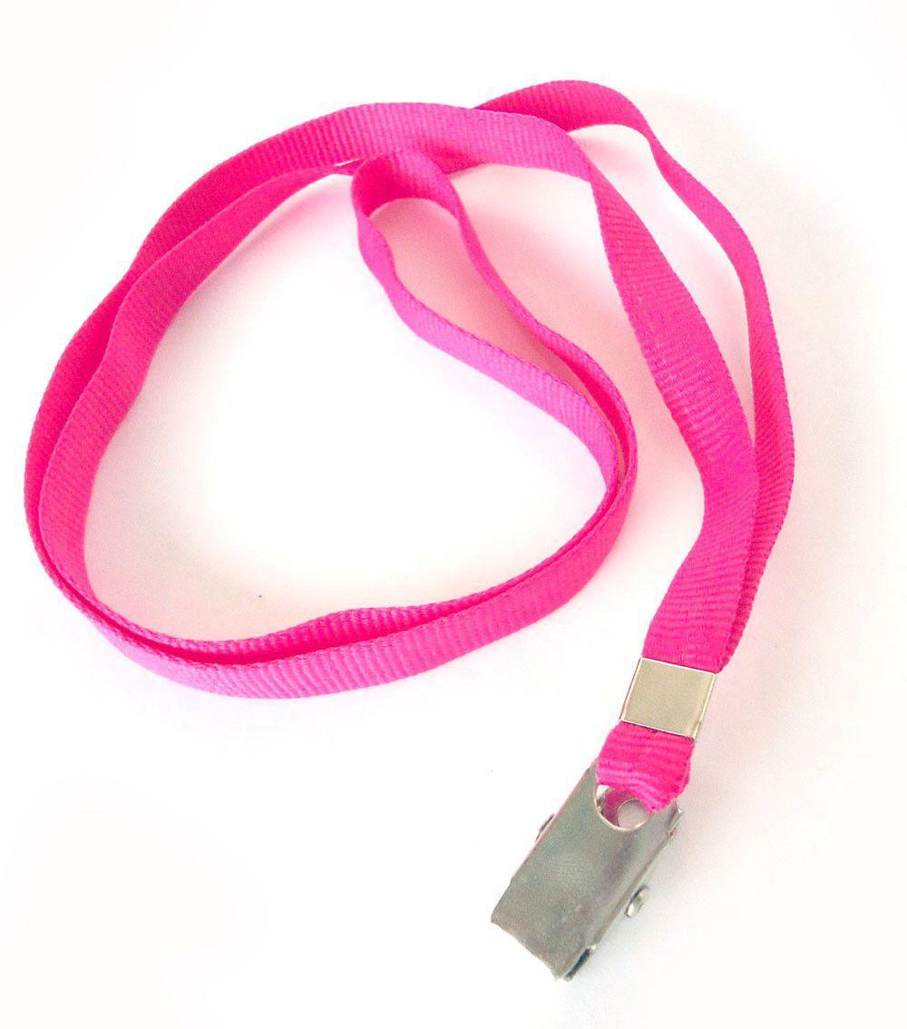 Cordão para Crachá com Presilha Clips Jacaré Rosa Pink - Pacote com 100 unidades  - Click Suprimentos