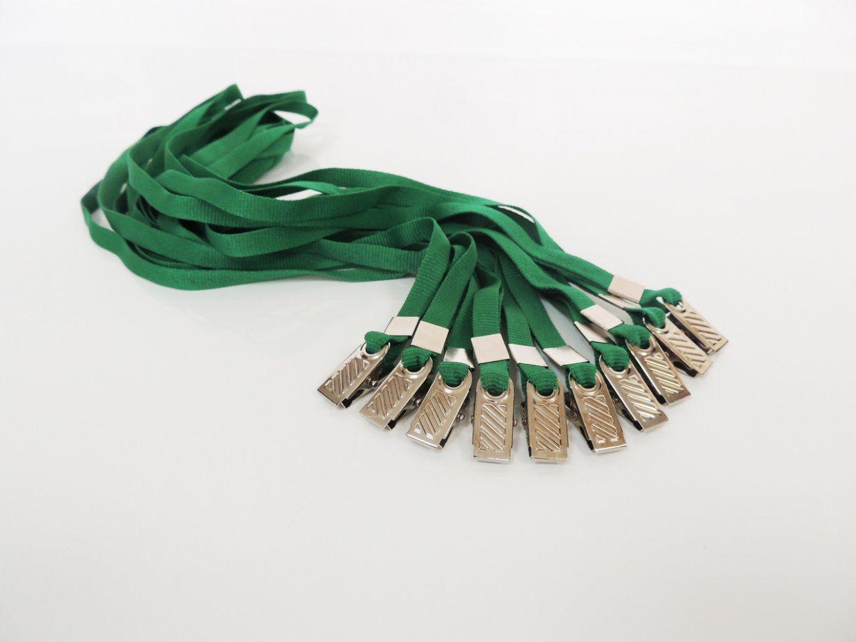Cordão para Crachá com Presilha Clips Jacaré Verde - Pacote com 100 unidades  - Click Suprimentos