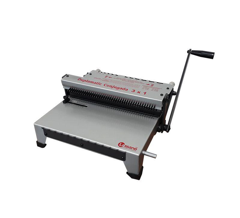 Encadernadora Perfuradora e Fechadora Wire-o Duplamatic Conjugada Passo 3x1 Lassane - Furo Quadrado  - Click Suprimentos