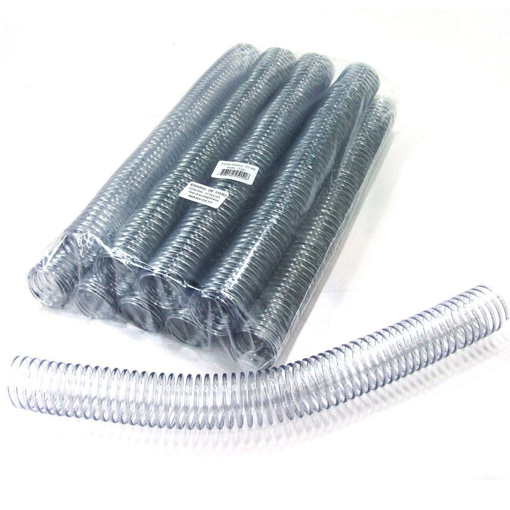 Espiral para Encadernação Transparente (Cristal) 33mm até 250 Folhas - Pacote com 27 unidades  - Click Suprimentos