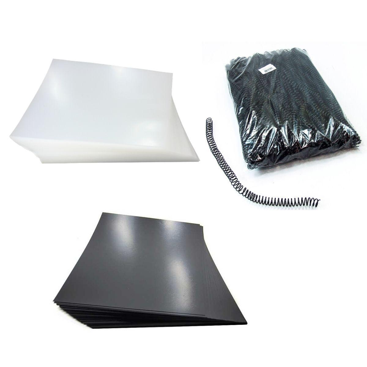 Kit 200 Capas e 100 Espirais Pretos para Encadernação 12mm até 70 Folhas  - Click Suprimentos