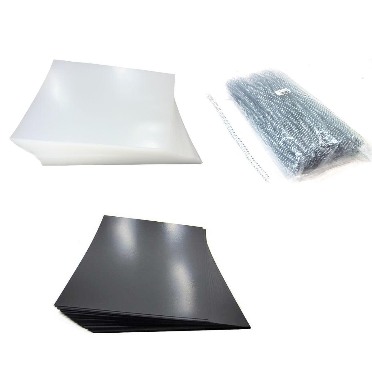 Kit 200 Capas e 100 Espirais Transparentes (Cristal) para Encadernação 09mm até 50 Folhas  - Click Suprimentos