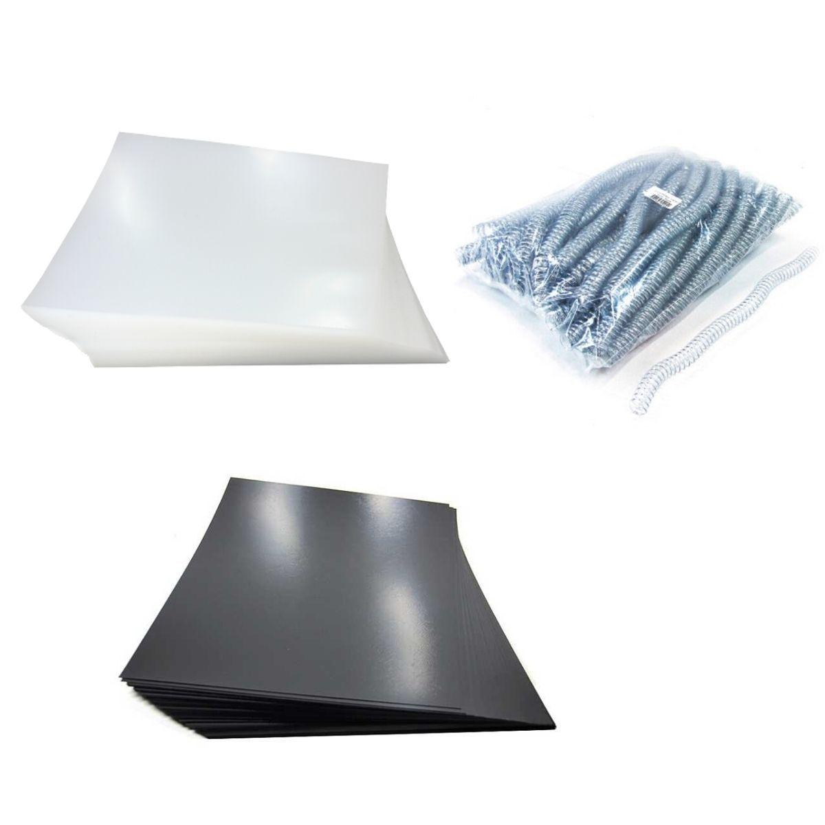 Kit 200 Capas e 100 Espirais Transparentes (Cristal) para Encadernação 12mm até 70 Folhas  - Click Suprimentos