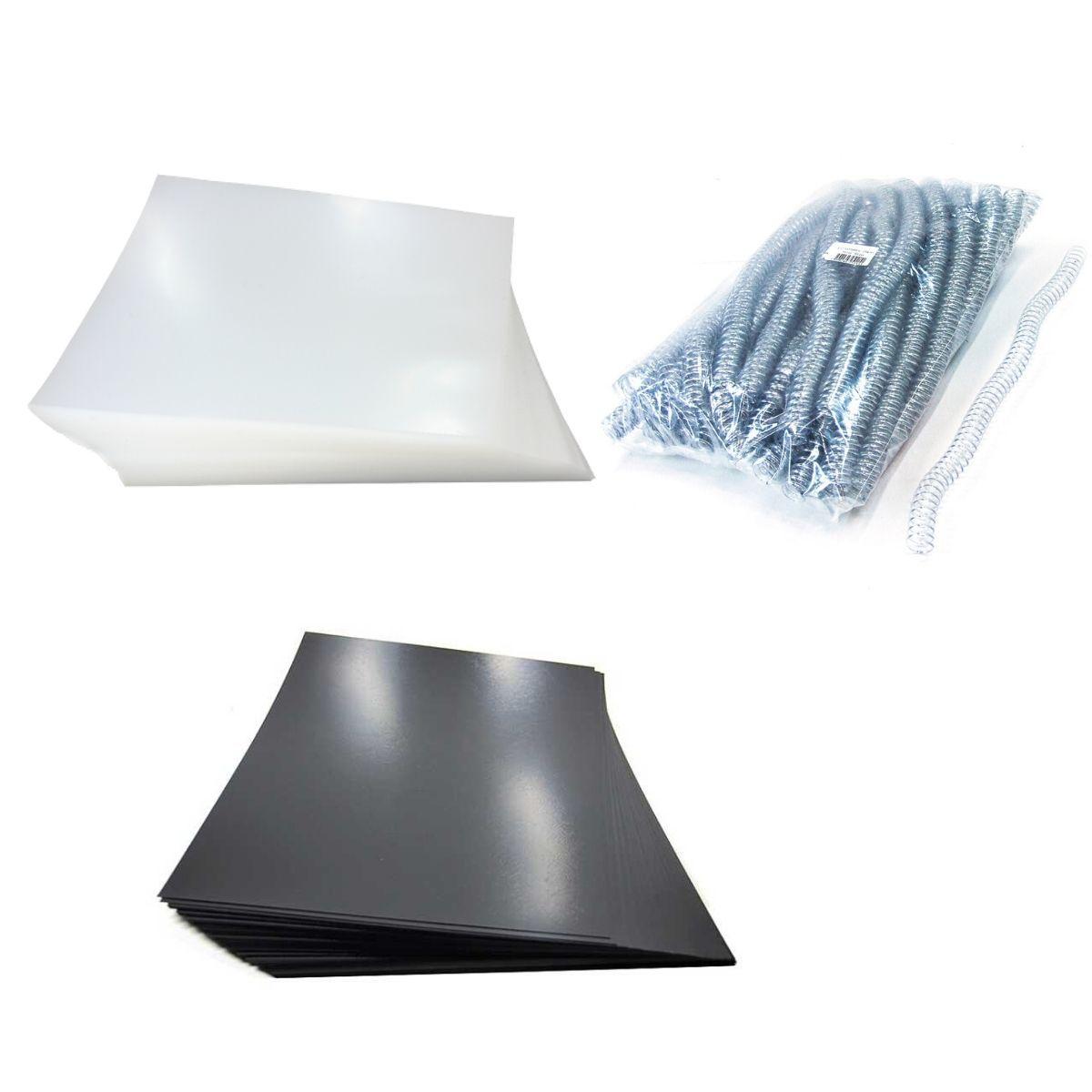 Kit 200 Capas e 100 Espirais Transparentes (Cristal) para Encadernação 14mm até 85 Folhas  - Click Suprimentos