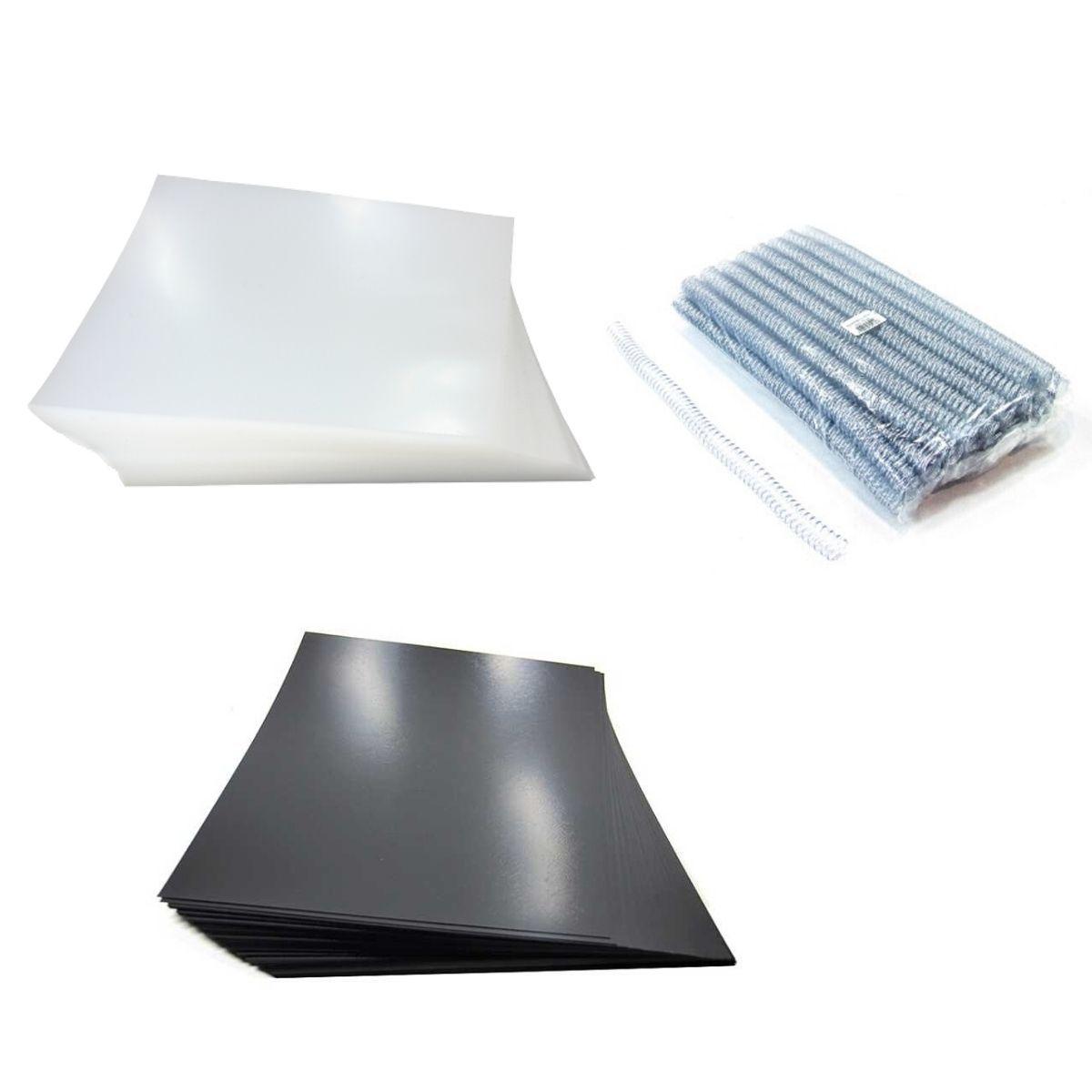 Kit 200 Capas e 100 Espirais Transparentes (Cristal) para Encadernação 17mm até 100 Folhas  - Click Suprimentos