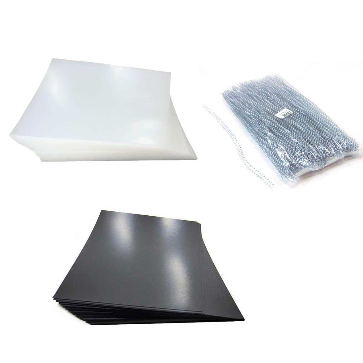 Kit 200 Capas e 100 Espirais Transparentes (Cristal) para Encadernação 07mm até 25 Folhas  - Click Suprimentos