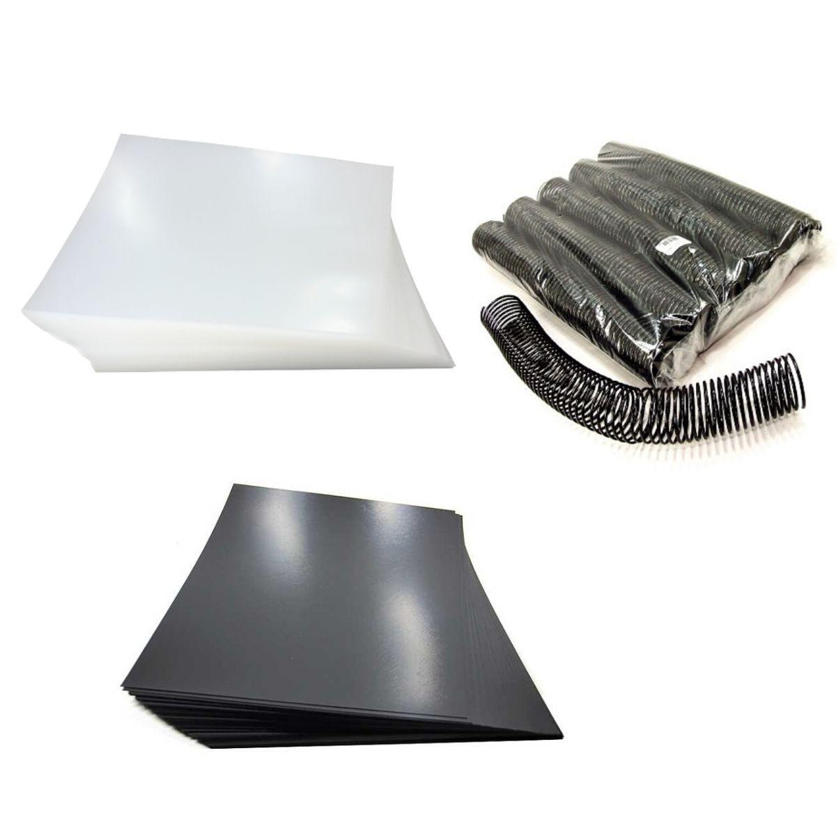 Kit 200 Capas e 12 Espirais Pretos para Encadernação 50mm até 450 Folhas  - Click Suprimentos