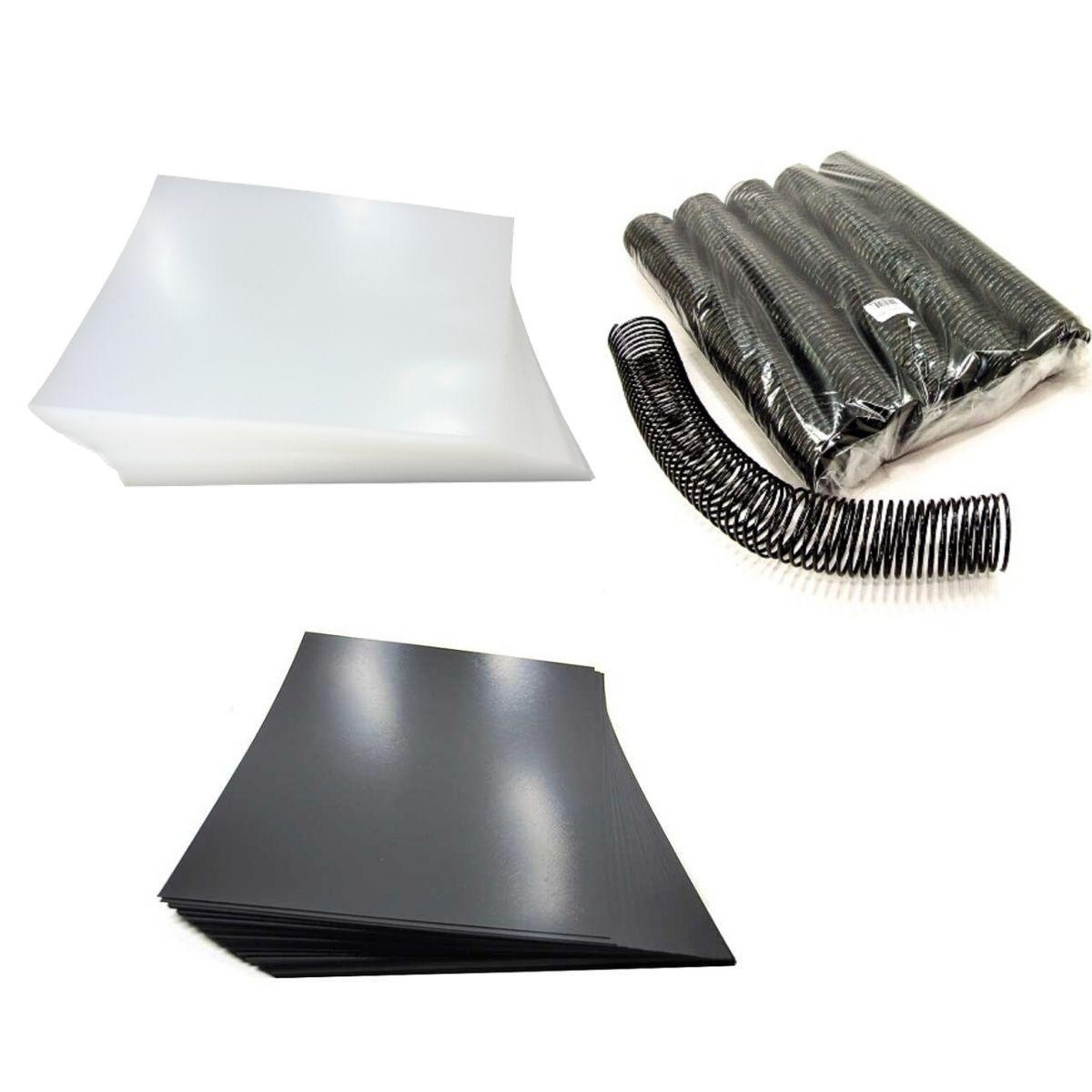 Kit 200 Capas e 15 Espirais Pretos para Encadernação 45mm até 400 Folhas  - Click Suprimentos