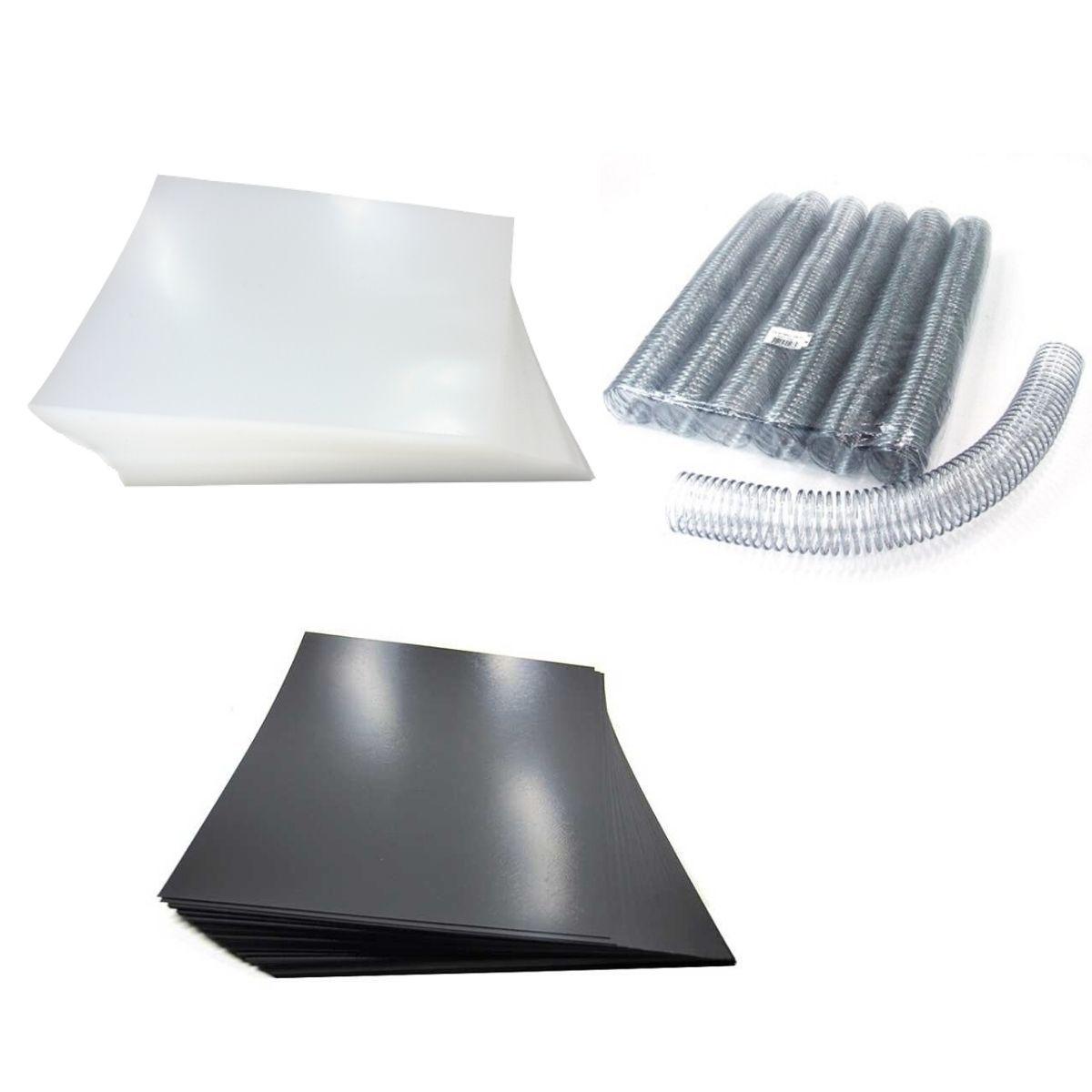 Kit 200 Capas e 18 Espirais Transparentes (Cristal) para Encadernação 40mm até 350 Folhas  - Click Suprimentos