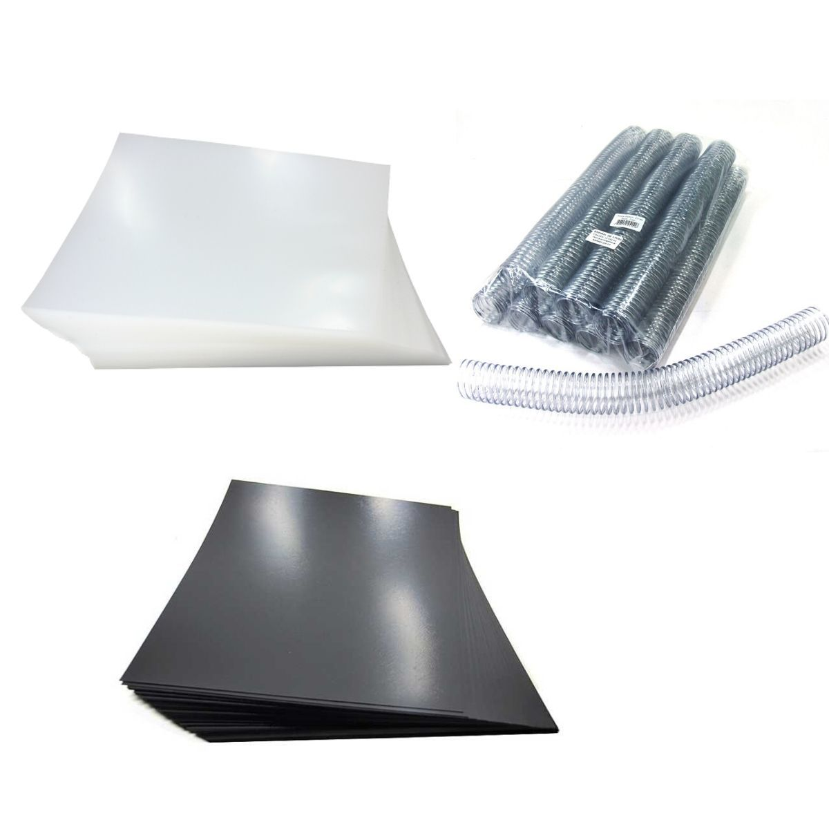 Kit 200 Capas e 27 Espirais Cristal para Encadernação 33mm até 250 Folhas  - Click Suprimentos