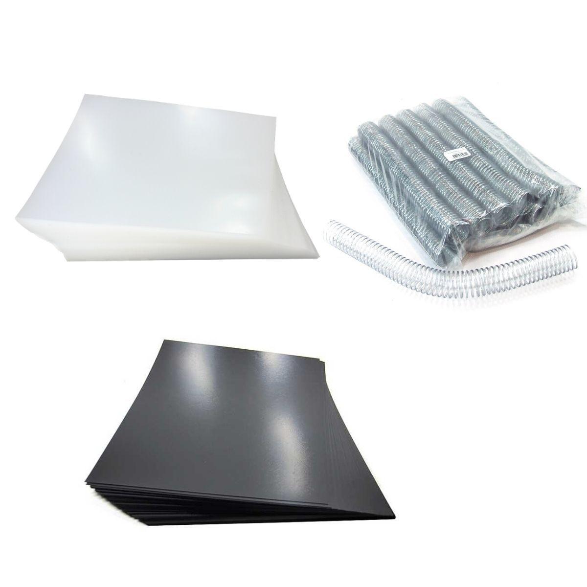 Kit 200 Capas e 36 Espirais Transparentes (Cristal) para Encadernação 29mm até 200 Folhas  - Click Suprimentos