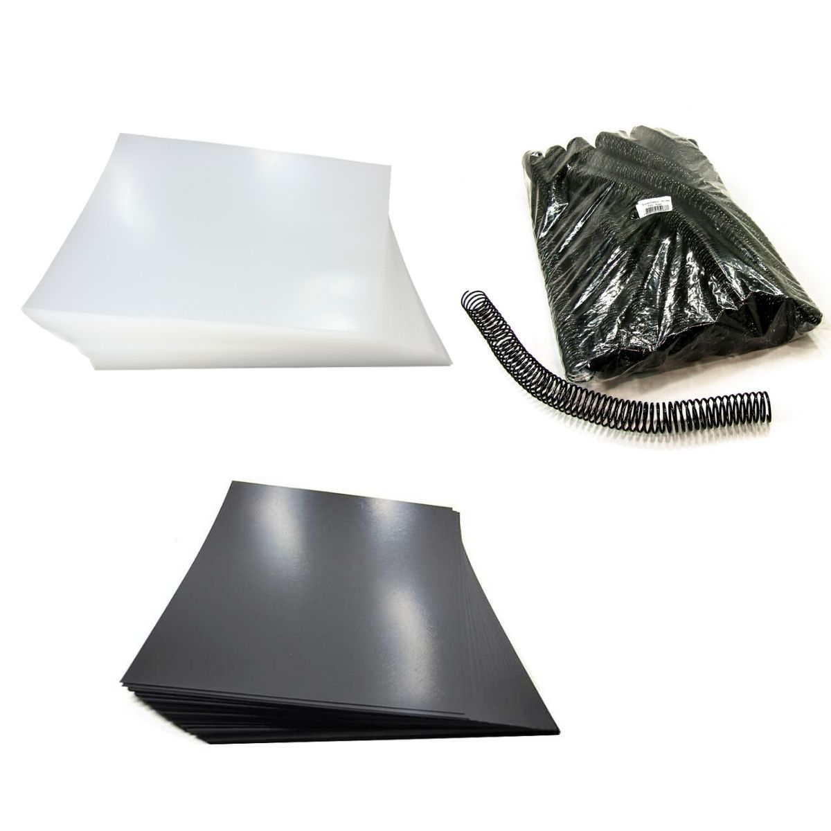 Kit 200 Capas e 60 Espirais Pretos para Encadernação 23mm até 140 Folhas  - Click Suprimentos