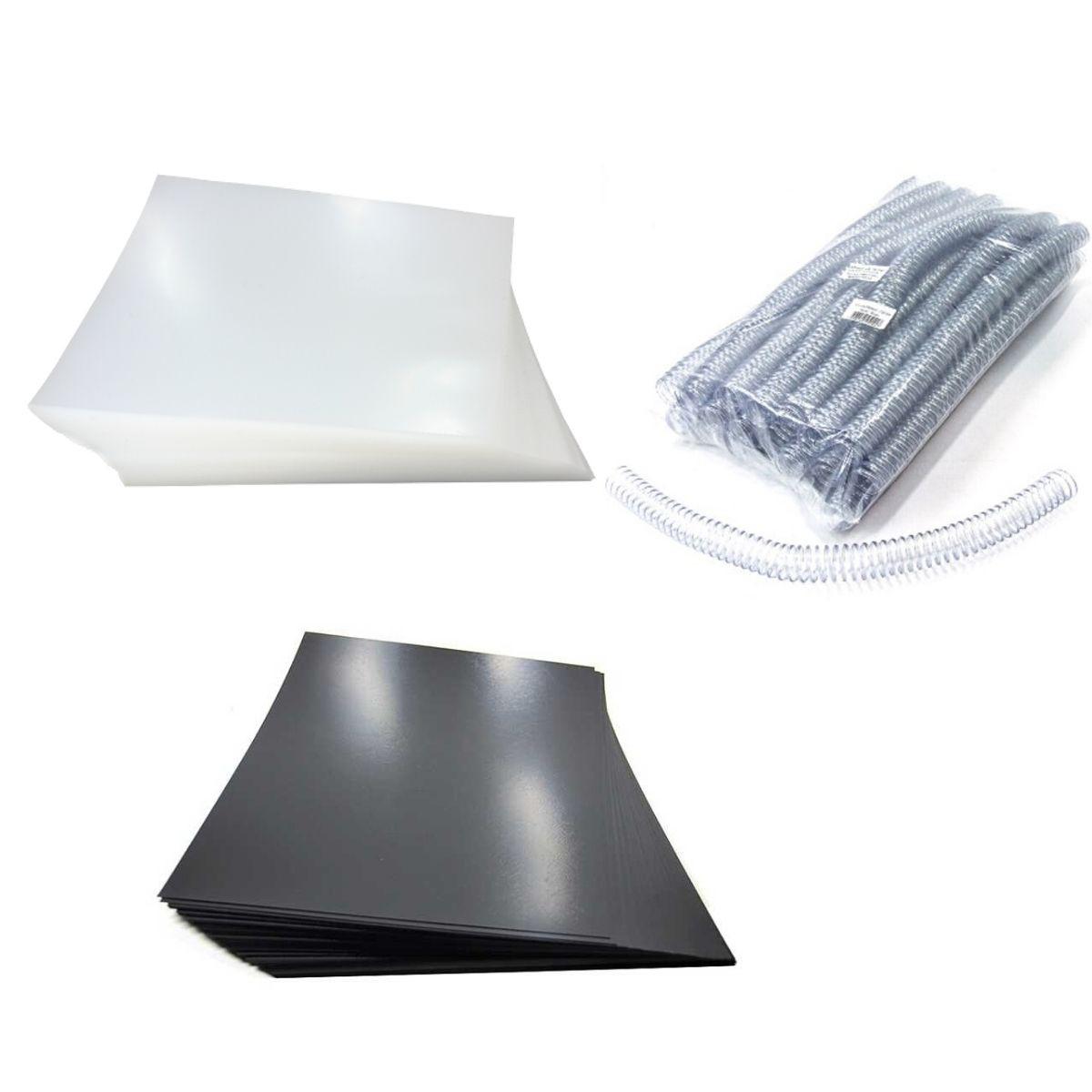 Kit 200 Capas e 80 Espirais Transparentes para Encadernação 20mm até 120 Folhas  - Click Suprimentos
