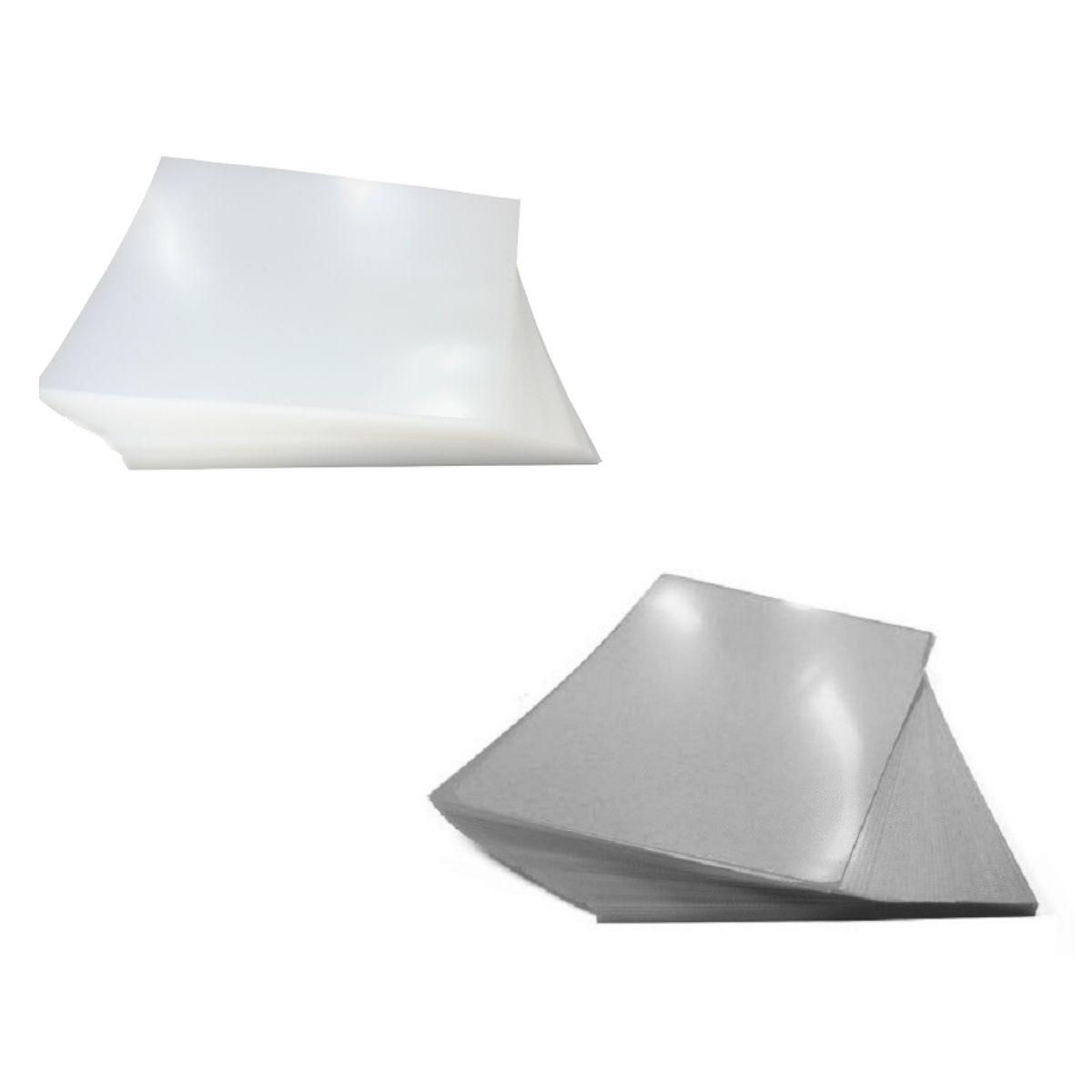 Kit 200 Capas para Encadernação A4 - Cristal Line (Frente) e Fumê Couro (Fundo)  - Click Suprimentos