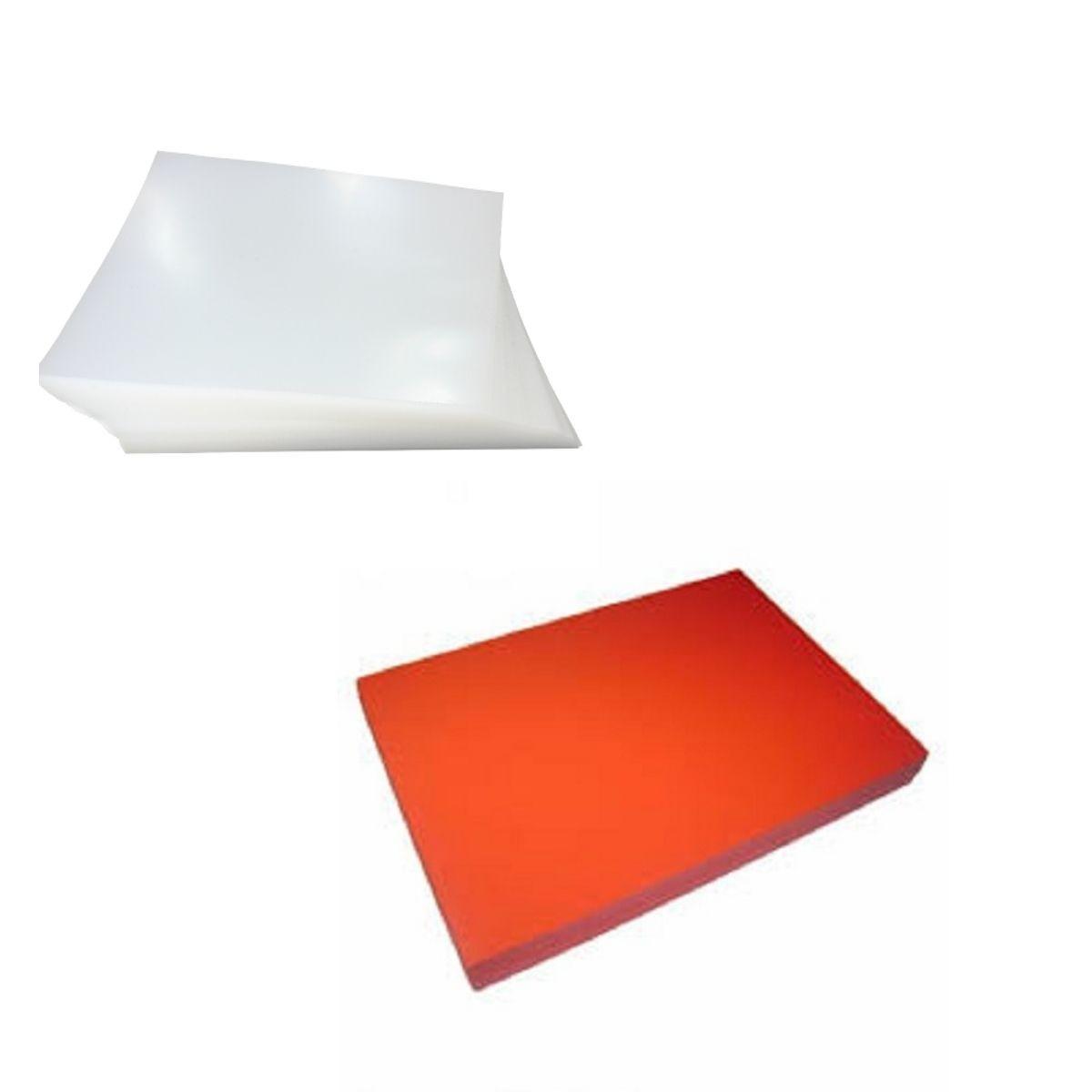 Kit 200 Capas para Encadernação A4 - Cristal Line (Frente) e Laranja Couro (Fundo)  - Click Suprimentos