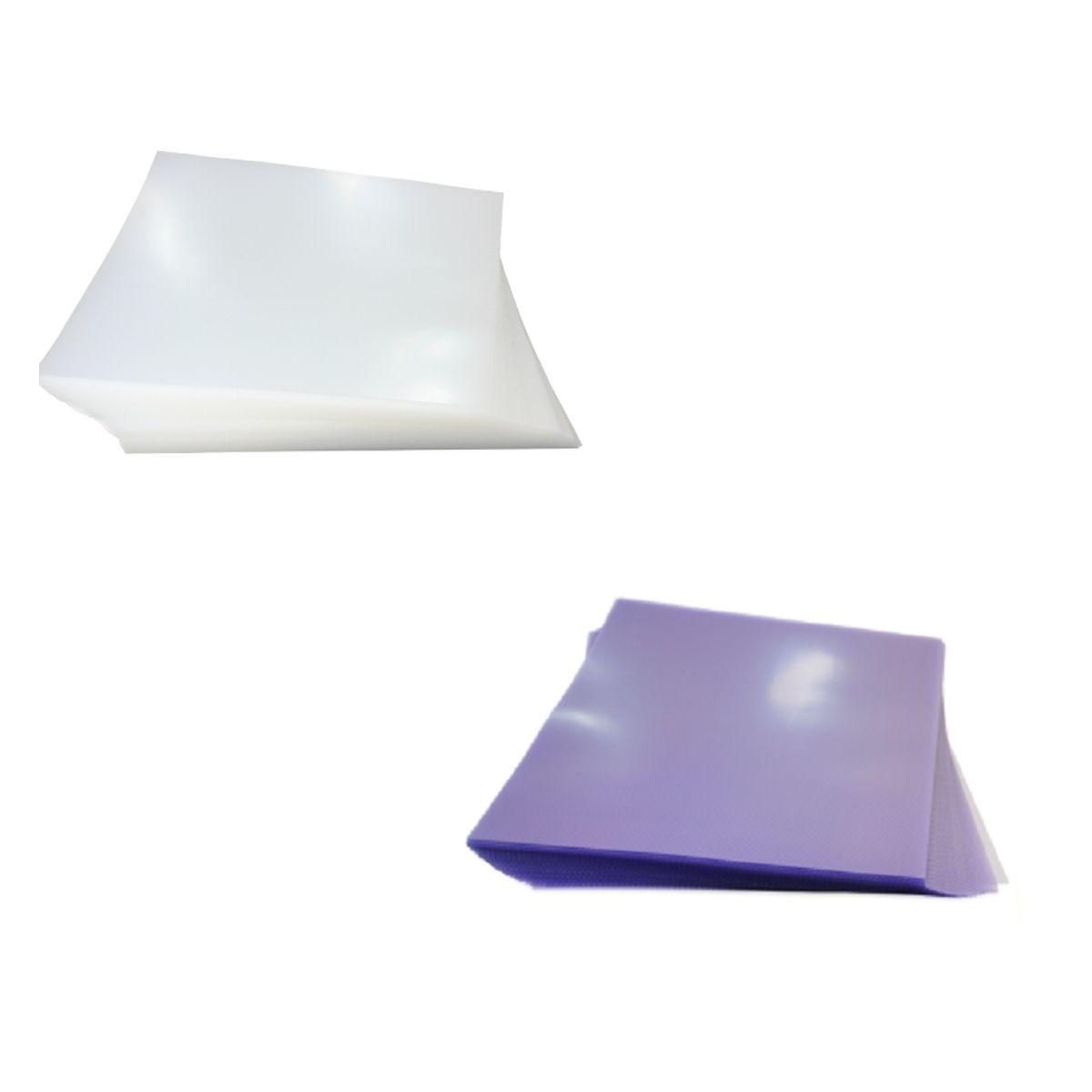 Kit 200 Capas para Encadernação A4 - Cristal Line (Frente) e Lilás Couro (Fundo)  - Click Suprimentos