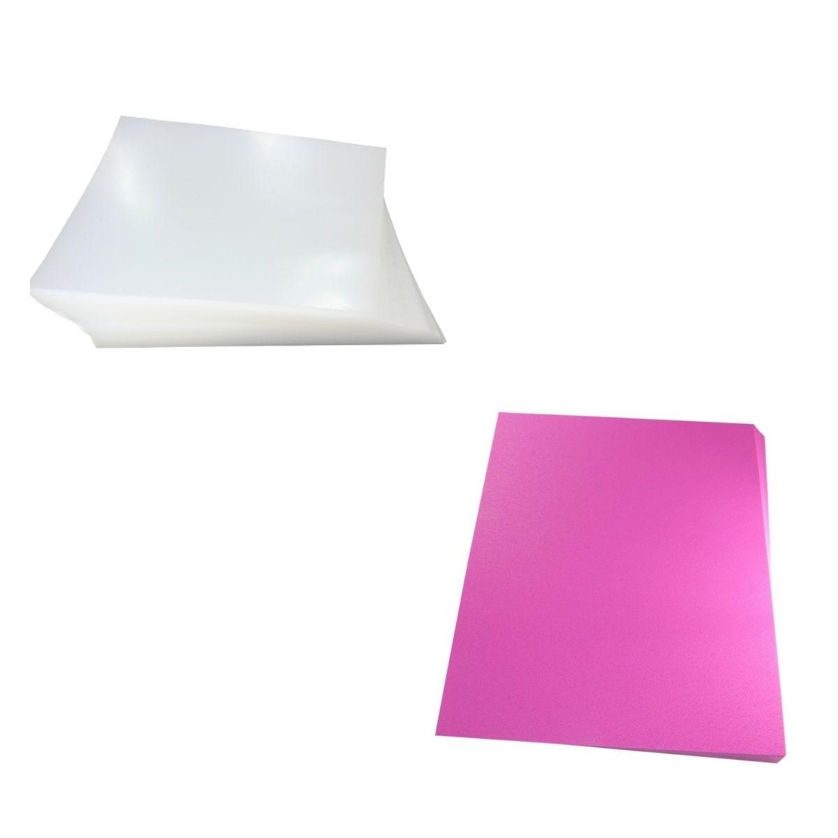 Kit 200 Capas para Encadernação A4 - Cristal Line (Frente) e Rosa Couro (Fundo)  - Click Suprimentos