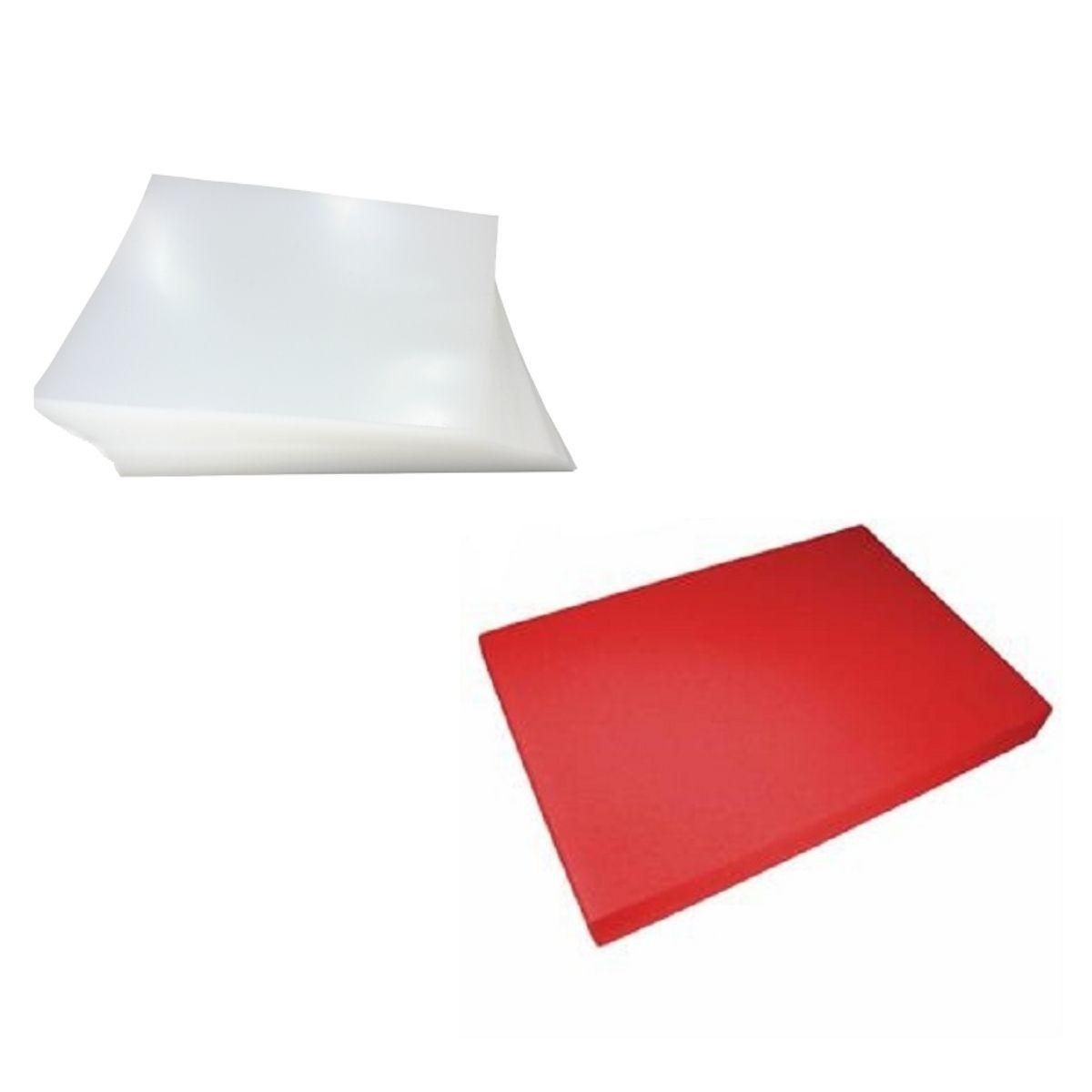 Kit 200 Capas para Encadernação A4 - Cristal Line (Frente) e Vermelha Couro (Fundo)  - Click Suprimentos