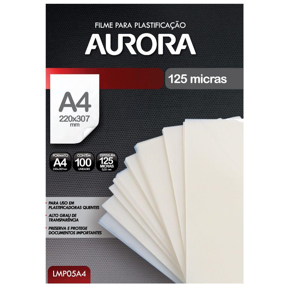Kit 200 Plásticos Filme para Plastificação Aurora A4 e RG  - Click Suprimentos