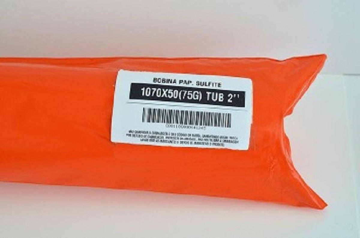 """Kit 5 Bobinas de Papel Sulfite para Plotter 1070x50M 75g/m² T2""""  - Click Suprimentos"""