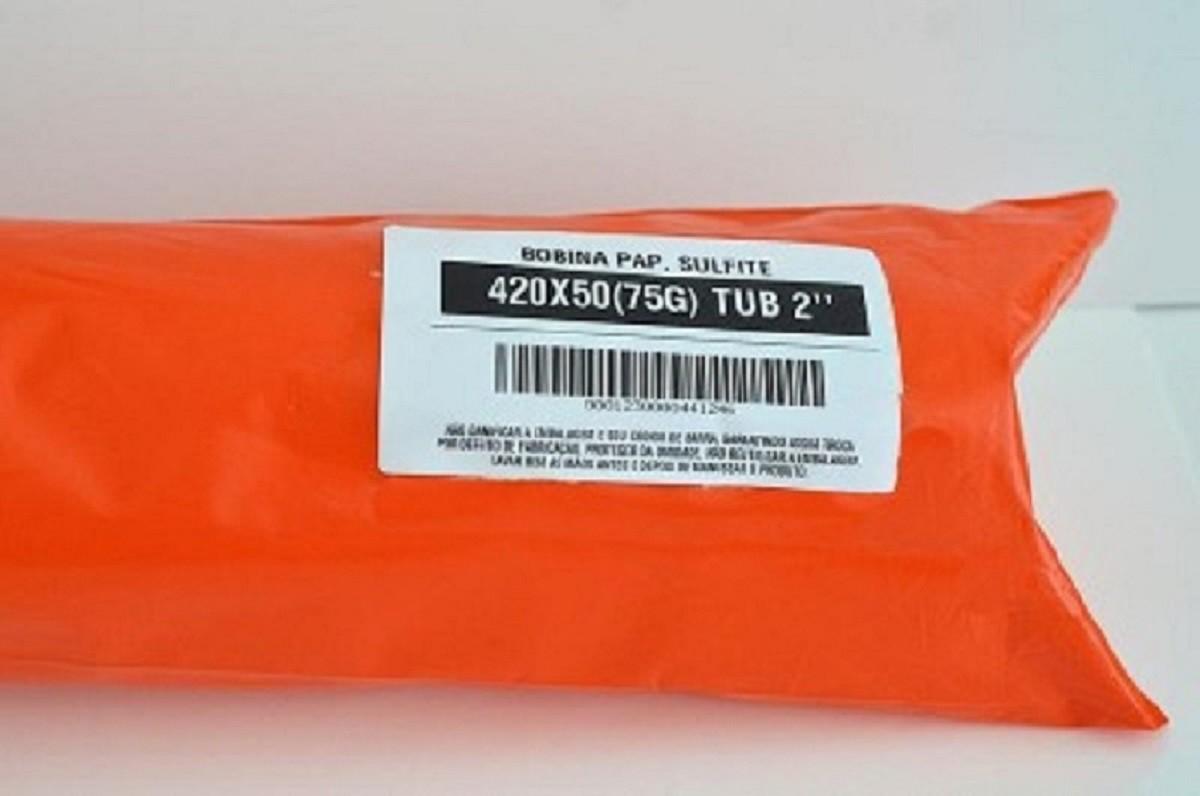 """Kit 5 Bobinas de Papel Sulfite para Plotter 420x50M 75g/m² T2""""  - Click Suprimentos"""