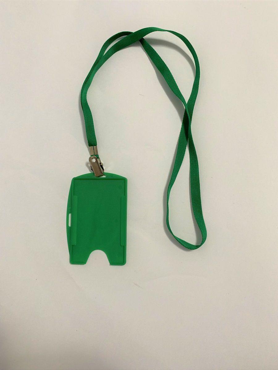 Kit Cordão + Porta Crachá Rígido Conjugado Verde - 100 unidades  - Click Suprimentos