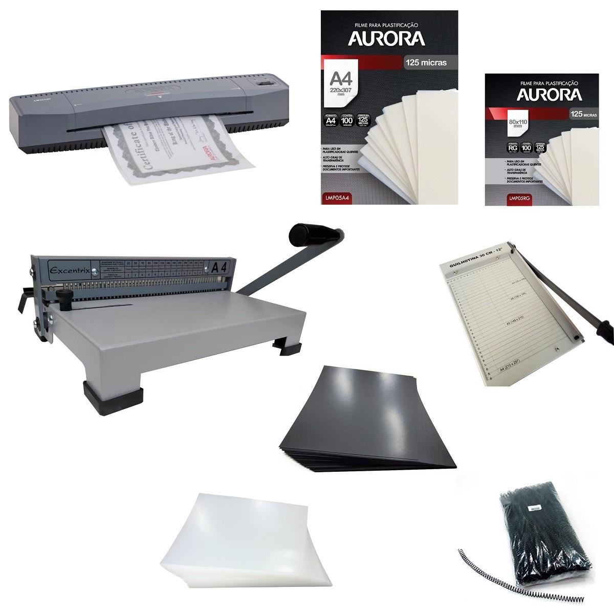 Kit Encadernadora e Guilhotina A4 + Plastificadora A3 Aurora 110v  - Click Suprimentos