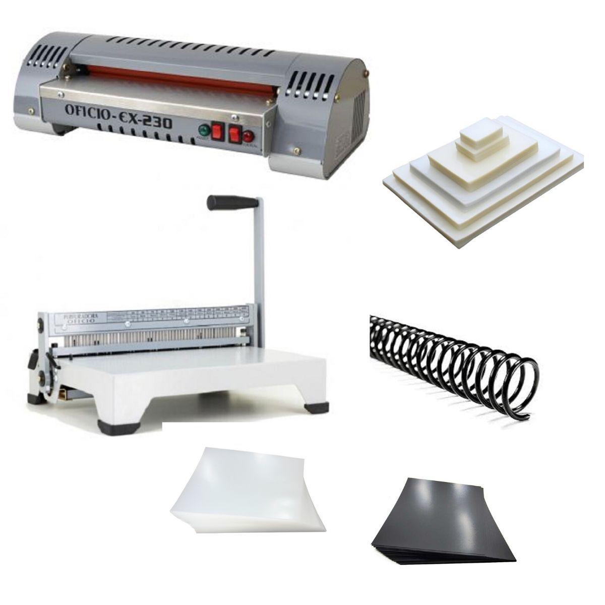 Kit Plastificadora Encadernadora e Todo Material Excentrix  - Click Suprimentos