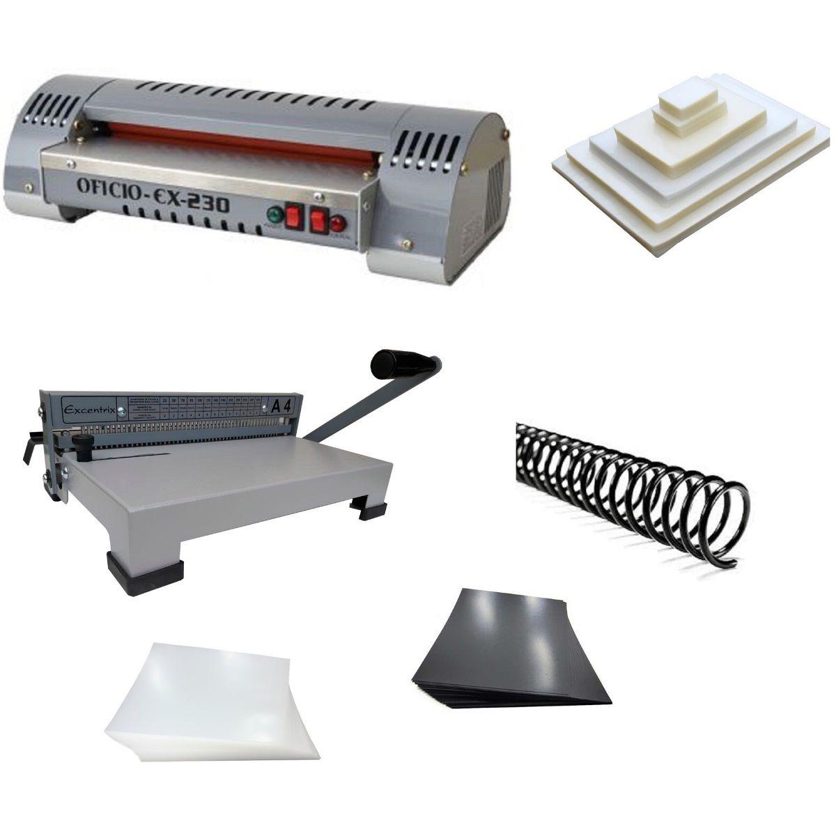 Kit Plastificadora Encadernadora e Todo Material Excentrix A4  - Click Suprimentos